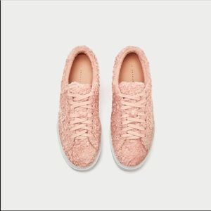 Zara Faux Fur Sneakers size 7.5
